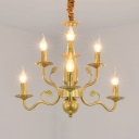 6/12/16 Lights Candle Chandelier with Leaf Classic Metal Hanging Light in Gold fro Restaurant
