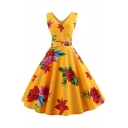 Women's Vintage Floral Pattern Sleeveless V-Neck Midi A-Line Yellow Dress