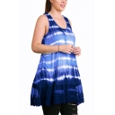 Women'a Summer Tie-dye Printed Sleeveless Scoop Neck Lace Insert Mini Tank Dress