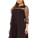 Women's Hot Fashion Round Neck 3/4 Sleeve Sequinned Stars Print Mesh Midi Plus Size Swing Dress