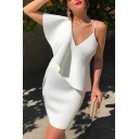 Womens Sexy Solid Print V-Neck Ruffle Sleeveless Mini Pencil White Dress