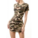 Fashion Camouflage Print Round Neck Short Sleeve Mini Bodycon Dress
