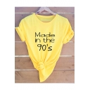 Creative Letter MADE IN THE 90'S Basic Short Sleeve Round Neck Cotton Loose T-Shirt