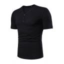 Men's New Stylish Button V-Neck Short Sleeve Plain Leisure Henley Shirt