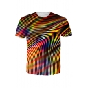 3D Cool Line Printed Round Neck Short Sleeve Basic T-Shirt