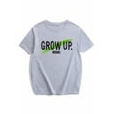 Men's New Stylish Letter GROW UP Round Neck Short Sleeve Loose Fit Casual Tee