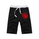 New Stylish Dragon Logo Printed Drawstring Waist Summer Black Athletic Shorts for Guys