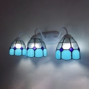 Tiffany Style Wall Light Dome 3 Lights Glass Sconce Light in Blue and White for Bathroom