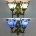 Bedroom Cone Wall Light Glass 2 Lights Mediterranean Style Blue/Sky Blue Sconce Light
