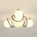 Nordic Style Black/White Ceiling Light Globe Shade 4 Lights Frosted Glass Semi Flush Light for Bathroom