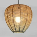 Beige&Blue Bucket Hanging Lamp Country Style One Light Rattan Drop Light for Restaurant