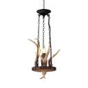 Deer Horn Shape Pendant Light Single Light Vintage Style Resin Hanging Lamp for Dining Room Hallway