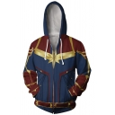 Cool 3D Print Long Sleeve Cosplay Costume Full Zip Blue and Red Hoodie