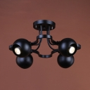 Globe Semi Flush Chandelier Living Room 4 Lights Vintage Semi Flush Light in Black