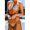 New Arrival Women's Halter Neck Tassels Tied Grey Triangle Bikini