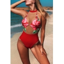 Hot Popular Floral Printed Halter Neck Sexy Transparent Mesh Panel Womens Red One Piece Swimsuit