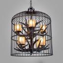 Living Room Birdcage Pendant Lighting Metal and Resin 8 Lights Vintage Black Chandelier with Antlers Decoration