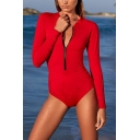 Womens Solid Color Long Sleeve Stand Collar Zip Up Rash Guard Red One Piece Surf Swimsuit