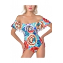 Vintage Fashion Floral Pattern Ruffle Hem Off the Shoulder Blue One Piece Swimsuit