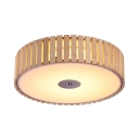 Dining Room Round Flush Mount Ceiling Light Wood and Acrylic Modern Beige Flush Ceiling Light