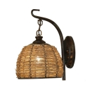 Rattan Dome Shape Wall Light Single Light Rustic Style Sconce Wall Light in Brown for Living Room