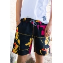 Guys Summer Basic Drawstring Waist Fashion Print Black Surf Swim Trunks