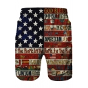 Mens Cool Star Letter Graffiti Trendy Beach Swim Trunks
