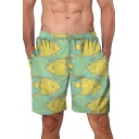 Lovely Cartoon Fish Pattern Mens Casual Loose Beach Swimming Trunks