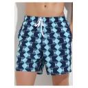 Mens Trendy Blue Geometric Printed Drawstring Waist Loose Casual Beach Swim Board Shorts