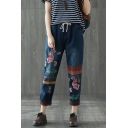 Womens Vintage Ethnic Style Floral Embroidery Drawstring Waist Loose Fit Blue Jeans