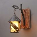 1 Light Lantern Sconce Light with Fabric Shade/Glass Shade Rustic Wall Lamp in Aged Brass