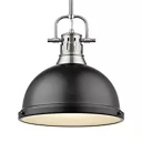 Black Domed Suspended Light One Light Industrial Metal Pendant Lighting for Kitchen Bar