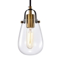 Vintage Gourd Pendant Light with Curved Band Clear Glass 1 Light Brass Ceiling Light for Dining Table