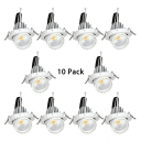 (10 Pack)5W Wireless LED Recessed Light Angle Adjustable Round Flush Mount Light for Bathroom Hallway