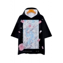 Mens Loose Relaxed Fashion Floral Printed Black Hooded T-Shirt