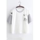 Cartoon Cute Squirrel Colorblock Summer Short Sleeve Relaxed T-Shirt