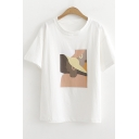 Abstract Figure Print Basic Short Sleeve Casual T-Shirt