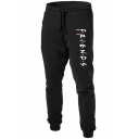Simple Letter FRIENDS Printed Drawstring Waist Cotton Sport Joggers Sweatpants