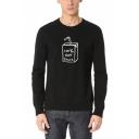 Funny 100% Boy Tears Milk Print Long Sleeve Round Neck Basic Pullover Sweatshirt