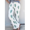 Summer Trendy Allover Cactus Pattern Womens Drawstring Waist White Casual Wide-Leg Pants