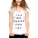 Simple Dot Letter I'LL BE THERE FOR YOU Basic White Tee