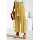 Women's Summer Trendy Solid Color Tied Waist Casual Capri Wide Leg Pants