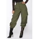 Women's Street Style Solid Color Flap Pocket Side Button-Fly Elastic Cuff Cargo Pants
