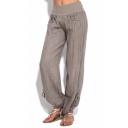 Womens Casual Linen Fashion Button Pocket Drawstring Cuff Plain Yoga Trousers Baggy Wide-Leg Pants