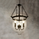 Industrial Black Chandelier with Candle and Clear Glass Shade 3 Lights Metal Pendant Lighting for Bar