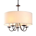 Metal Drum Shape Chandelier Dining Room Bedroom 5 Lights Traditional Pendant Lighting in White