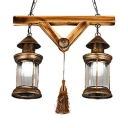 Cylinder Shape Pendant Lighting Vintage Style 2 Lights Metal Chandelier Lighting for Restaurant