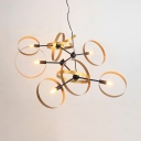 Antique Style Gold Chandelier with Ring Shade 6 Lights Metal Pendant Lighting for Living Room