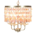 Classic Drum Shape Chandelier with Shell Decoration Metal 4/6 Lights Hanging Light for Bedroom Hotel