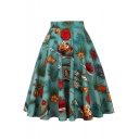 New Trendy Vintage Floral Fruit Printed High Rise Green Flared Midi Skirt